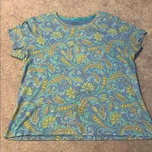Blue and green paisley top